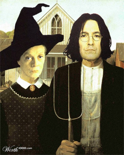 Im Not Sure That Donning New Outfits Demonstrates McGonagall And Snapes Best Bought Of Transfiguration But This American Gothic By Grant Wood Inspired